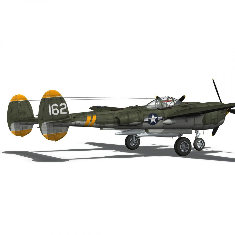 lockheed p-38 lightning – skidoo 3d model 3ds fbx c4d lwo obj 300281