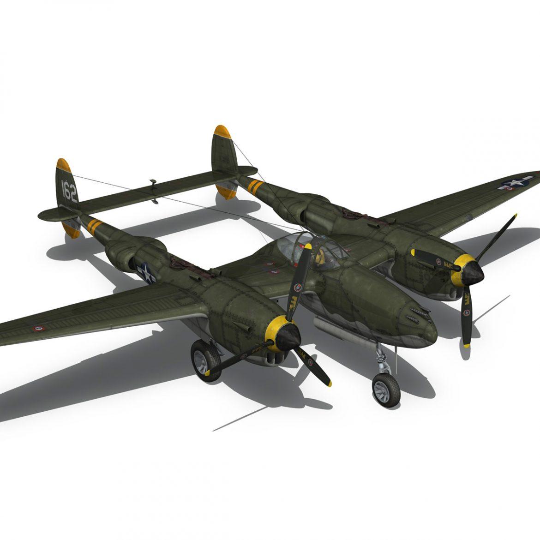 lockheed p-38 lightning – skidoo 3d model 3ds fbx c4d lwo obj 300282