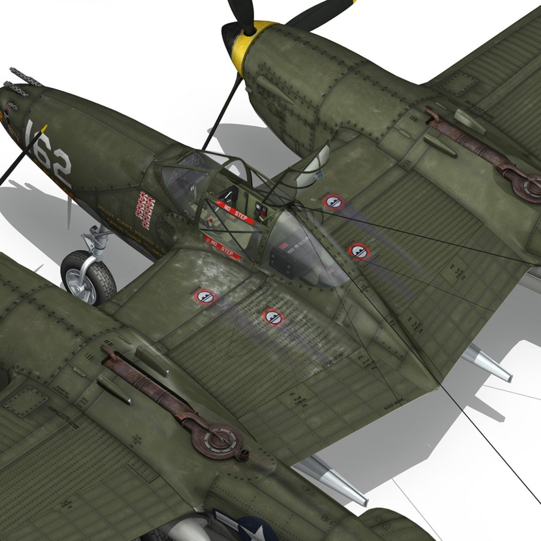lockheed p-38 lightning – skidoo 3d model 3ds fbx c4d lwo obj 300284