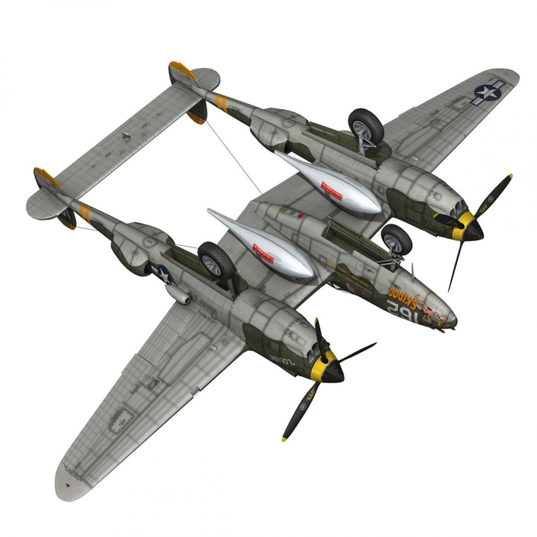 lockheed p-38 lightning – skidoo 3d model 3ds fbx c4d lwo obj 300285