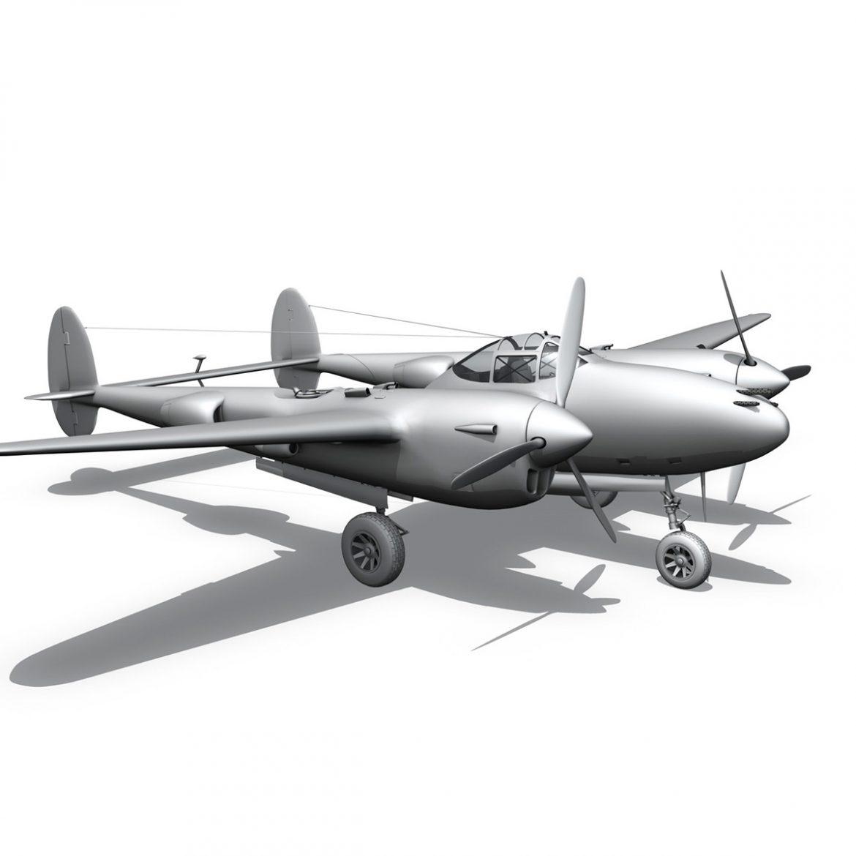 lockheed p-38 lightning – skidoo 3d model 3ds fbx c4d lwo obj 300286