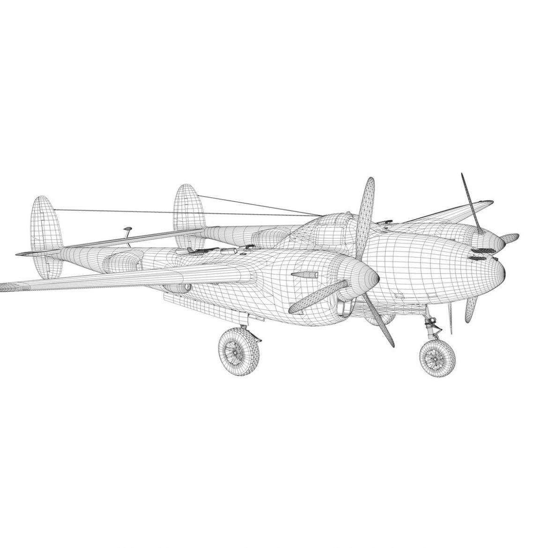 lockheed p-38 lightning – skidoo 3d model 3ds fbx c4d lwo obj 300287