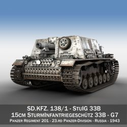 stuig 33b – self-propelled heavy infantry gun – g7 3d model 3ds c4d lwo obj 300311