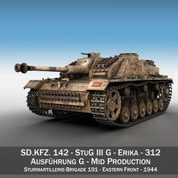 stug iii - ausf.g - 312 - táirgeadh lárnach Samhail 3d 3ds c4d lwo obj 300356