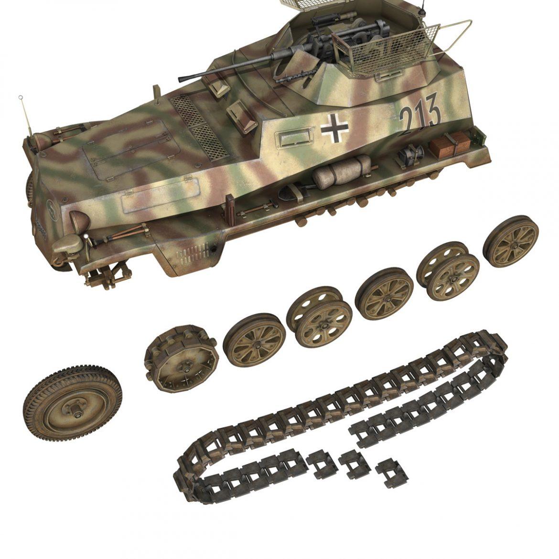 sd.kfz 250/9 – reconnaissance halftruck – 116pzdiv 3d model 3ds fbx c4d lwo obj 300383
