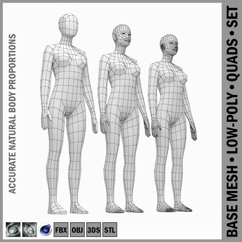 female base mesh natural proportions in rest pose 3d model 3ds max fbx c4d ma mb  obj 300399