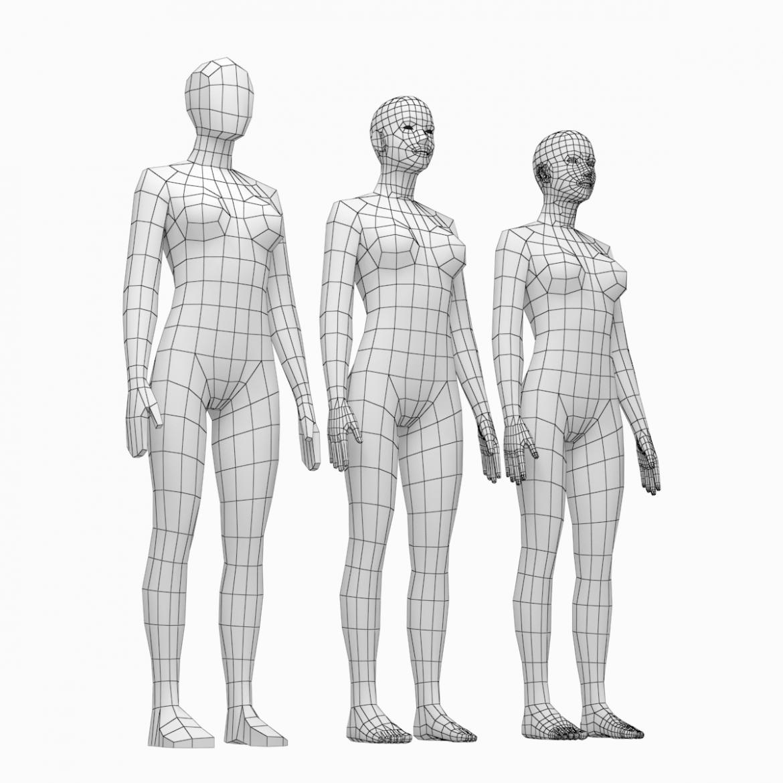 female base mesh natural proportions in rest pose 3d model 3ds max fbx c4d ma mb  obj 300400