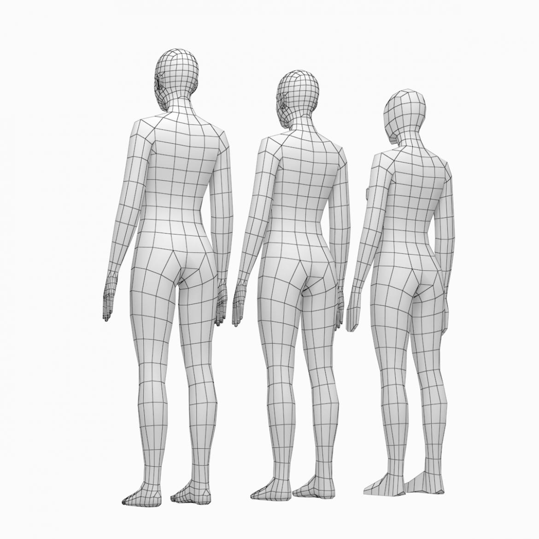 female base mesh natural proportions in rest pose 3d model 3ds max fbx c4d ma mb  obj 300401