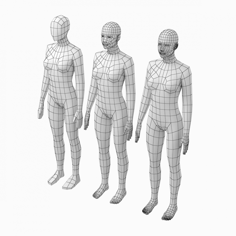 female base mesh natural proportions in rest pose 3d model 3ds max fbx c4d ma mb  obj 300402