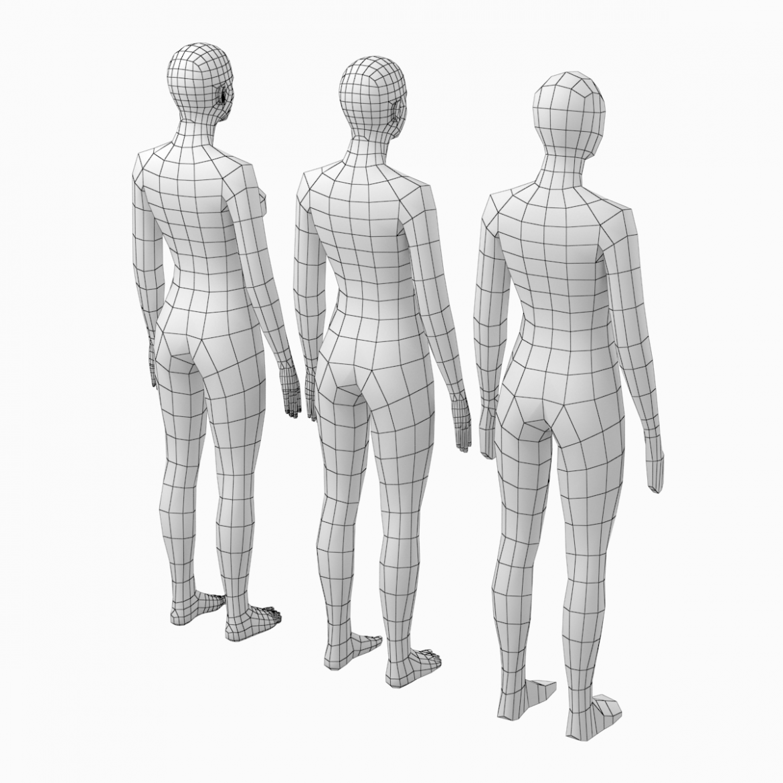 female base mesh natural proportions in rest pose 3d model 3ds max fbx c4d ma mb  obj 300403