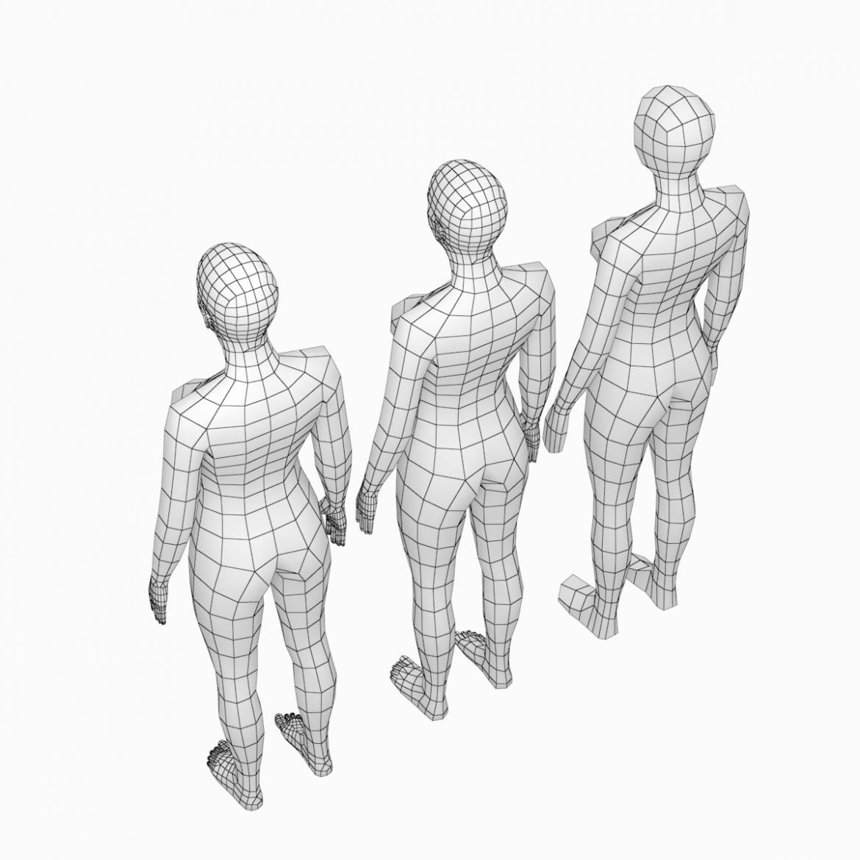 female base mesh natural proportions in rest pose 3d model 3ds max fbx c4d ma mb  obj 300405