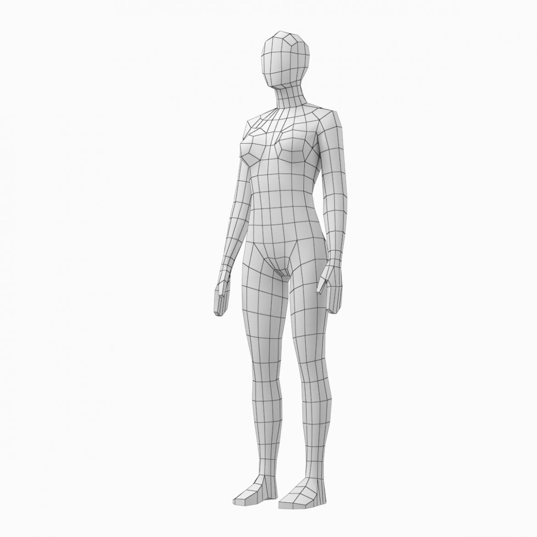female base mesh natural proportions in rest pose 3d model 3ds max fbx c4d ma mb  obj 300408