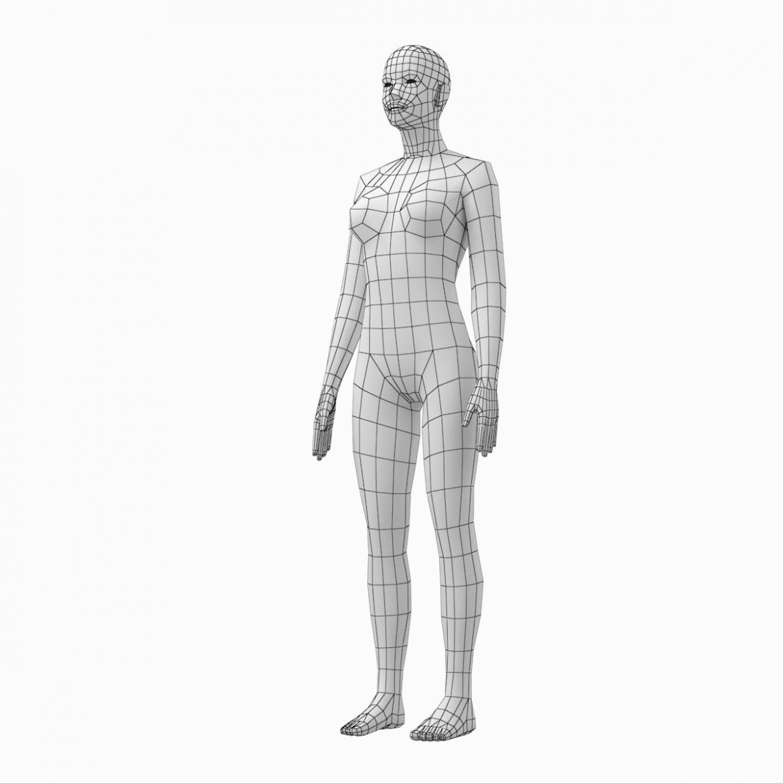 female base mesh natural proportions in rest pose 3d model 3ds max fbx c4d ma mb  obj 300409