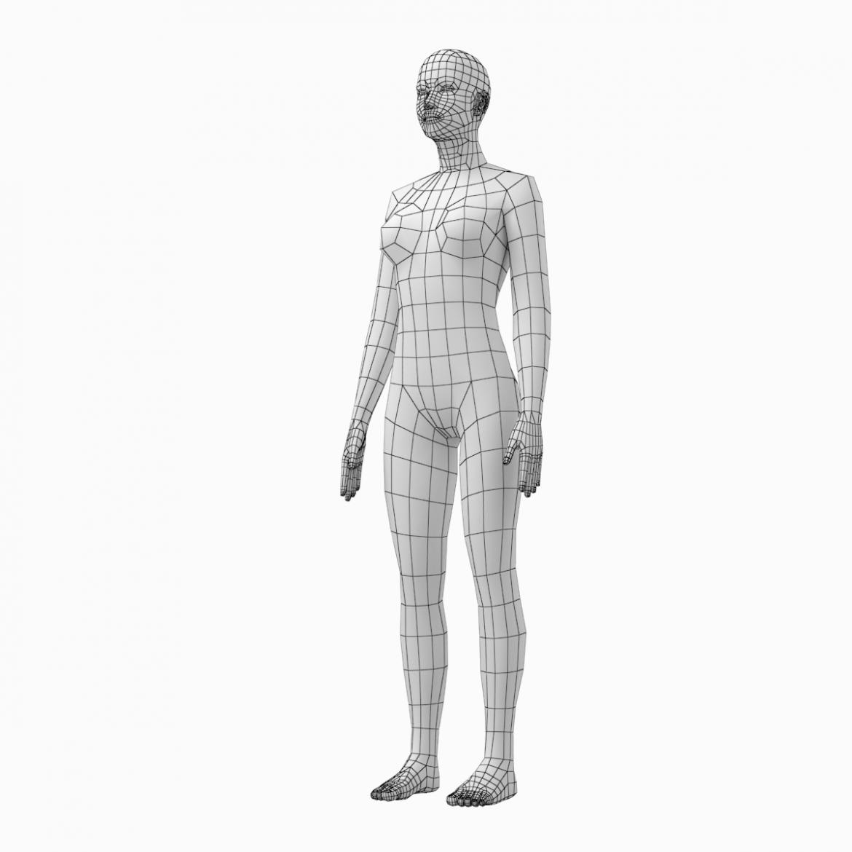 female base mesh natural proportions in rest pose 3d model 3ds max fbx c4d ma mb  obj 300410