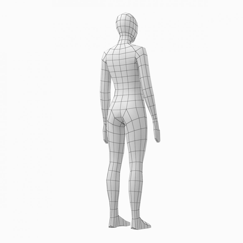 female base mesh natural proportions in rest pose 3d model 3ds max fbx c4d ma mb  obj 300411