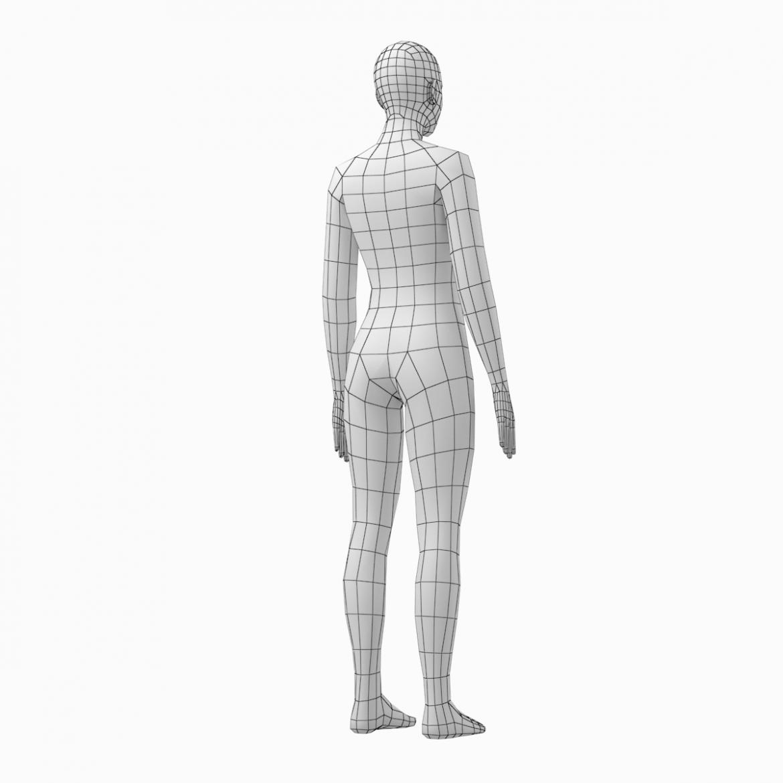 female base mesh natural proportions in rest pose 3d model 3ds max fbx c4d ma mb  obj 300412