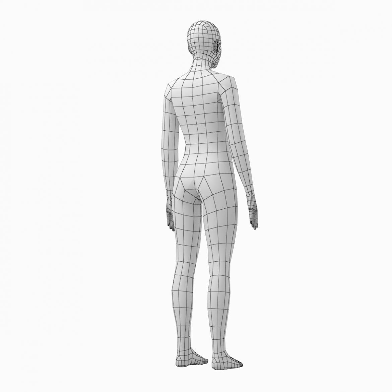 female base mesh natural proportions in rest pose 3d model 3ds max fbx c4d ma mb  obj 300413