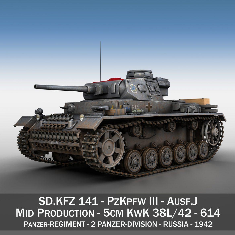 pzkpfw iii – panzer 3 – ausf.j – 614 3d model 3ds fbx c4d lwo obj 300425