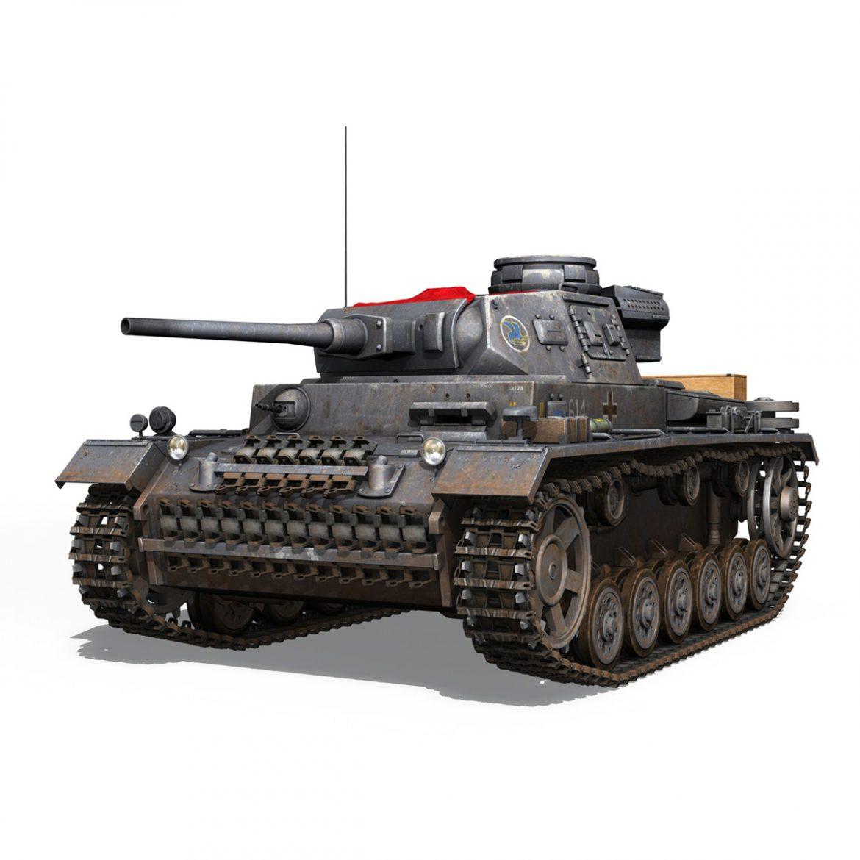 pzkpfw iii – panzer 3 – ausf.j – 614 3d model 3ds fbx c4d lwo obj 300426