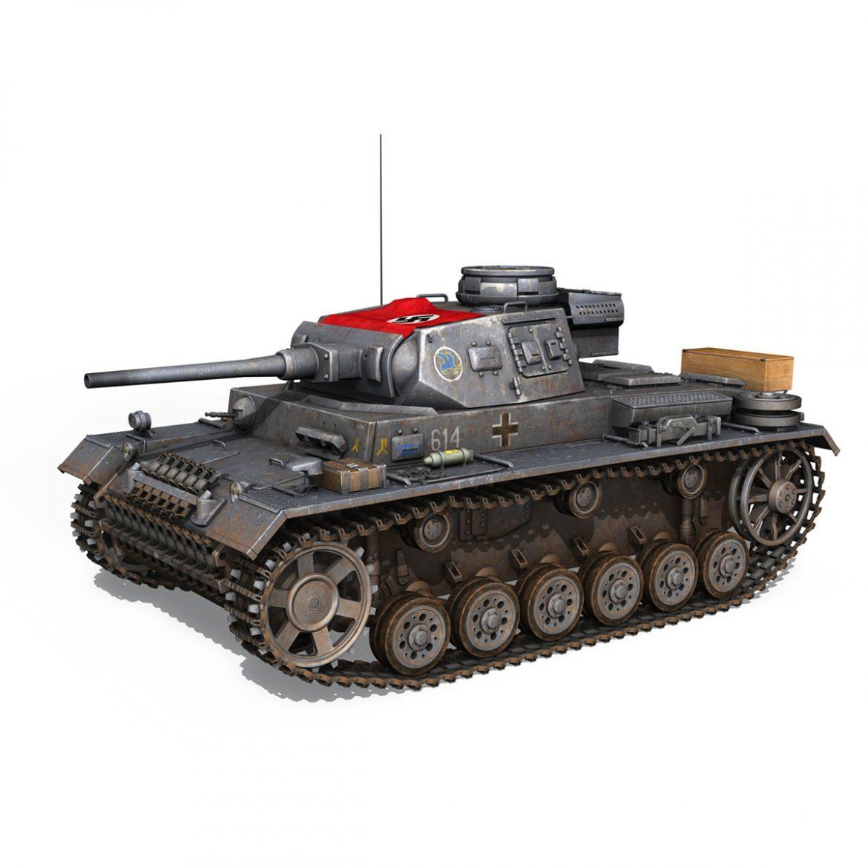 pzkpfw iii – panzer 3 – ausf.j – 614 3d model 3ds fbx c4d lwo obj 300427