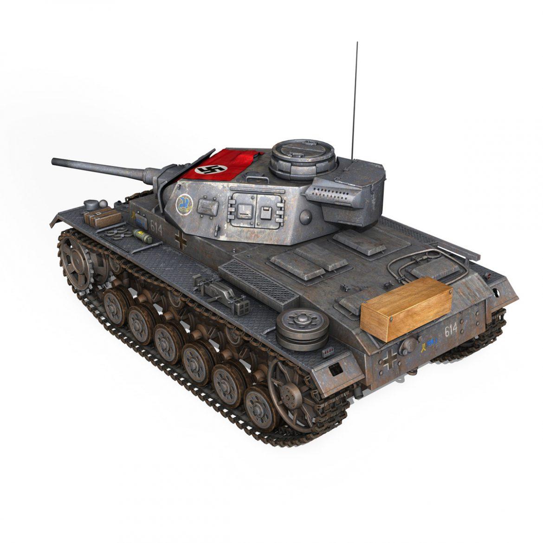 pzkpfw iii – panzer 3 – ausf.j – 614 3d model 3ds fbx c4d lwo obj 300429