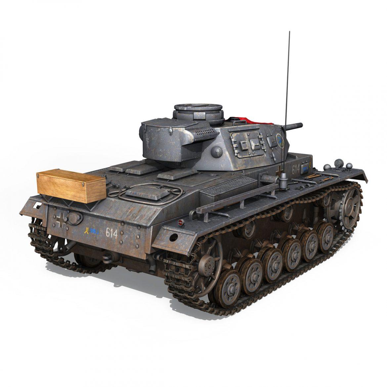 pzkpfw iii – panzer 3 – ausf.j – 614 3d model 3ds fbx c4d lwo obj 300430