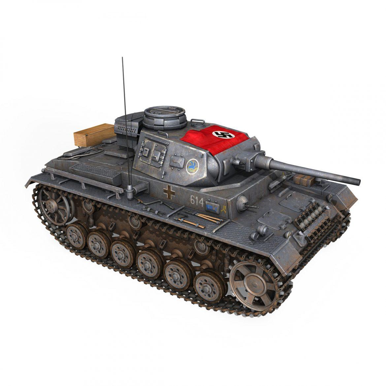 pzkpfw iii – panzer 3 – ausf.j – 614 3d model 3ds fbx c4d lwo obj 300432