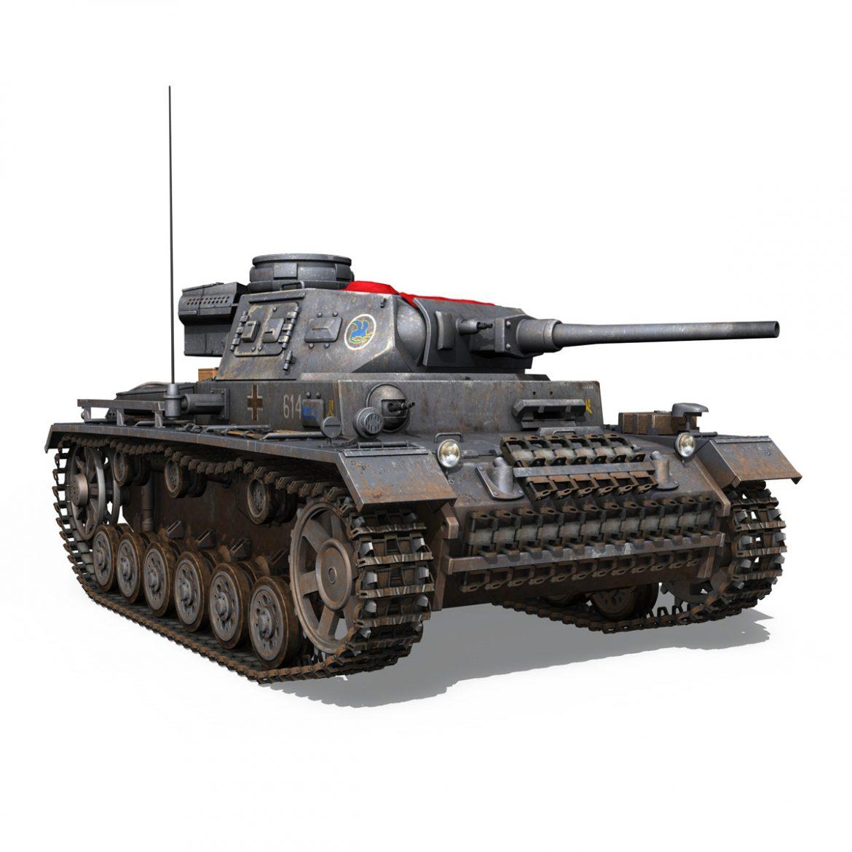 pzkpfw iii – panzer 3 – ausf.j – 614 3d model 3ds fbx c4d lwo obj 300433