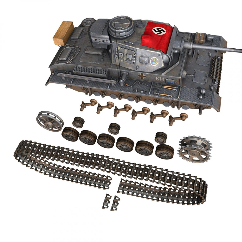 pzkpfw iii – panzer 3 – ausf.j – 614 3d model 3ds fbx c4d lwo obj 300435