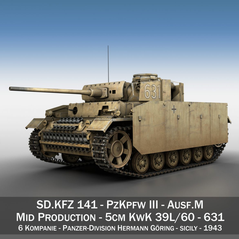 pzkpfw iii – panzer 3 – ausf.m – 631 3d model 3ds c4d lwo obj 300444