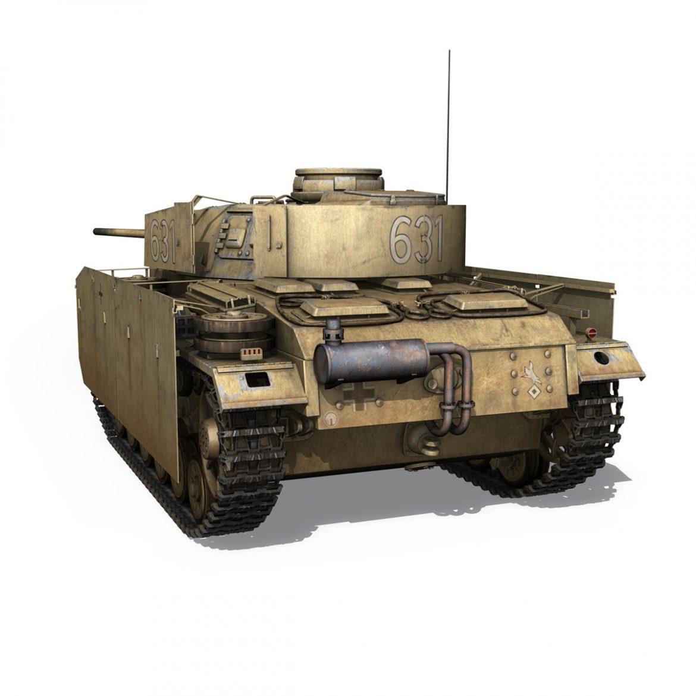 pzkpfw iii – panzer 3 – ausf.m – 631 3d model 3ds c4d lwo obj 300460