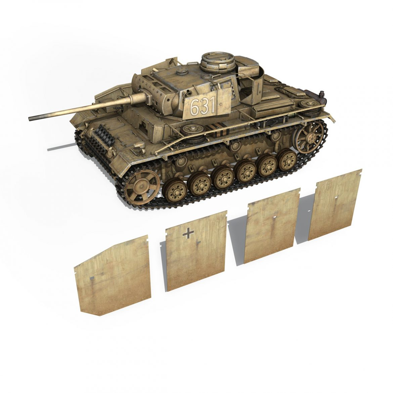 pzkpfw iii – panzer 3 – ausf.m – 631 3d model 3ds c4d lwo obj 300465