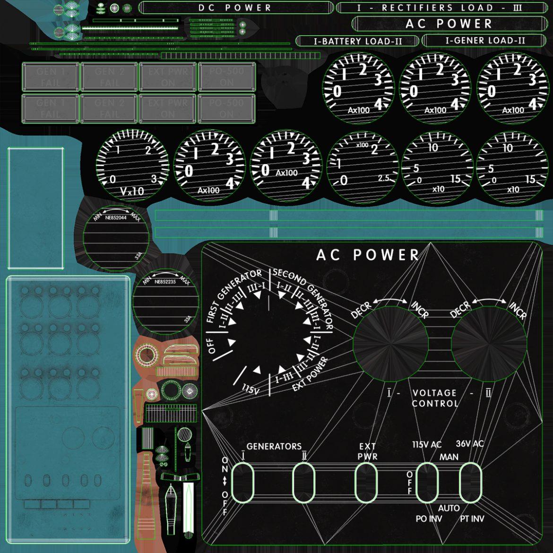 mi-8mt mi-17mt power panels board english 3d model 3ds max fbx obj 300505