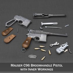 mauser c96 broomhandle with inner workings. 3d model 3ds fbx c4d lwo obj 300578