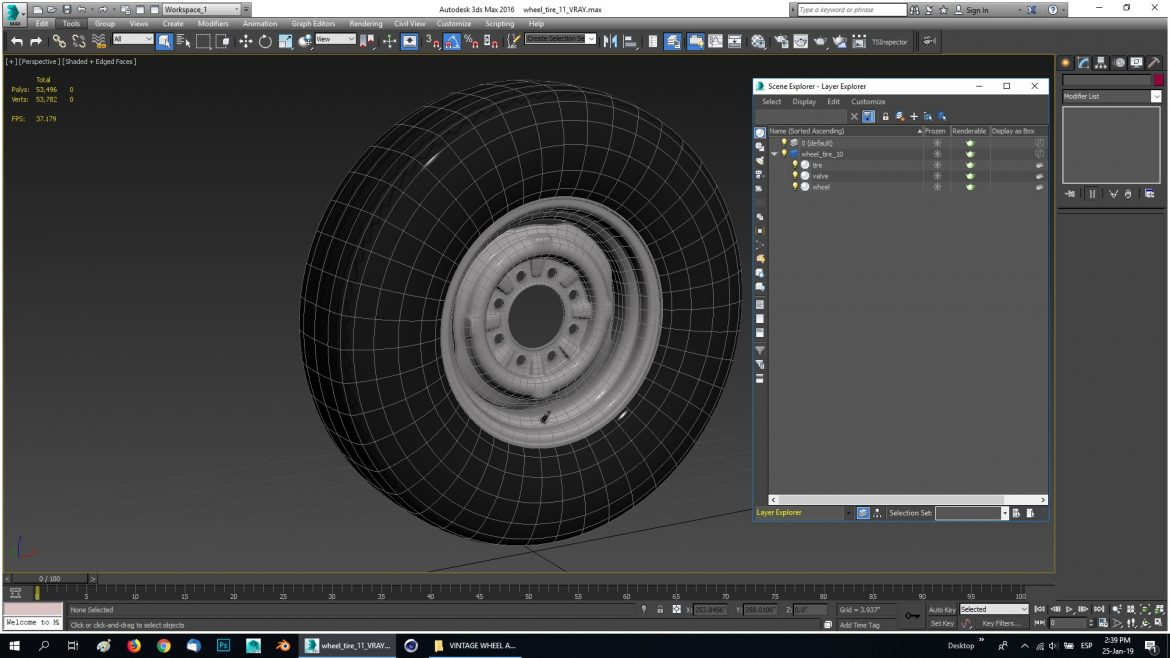 vintage wheel and tire 11 3d model 3ds max fbx obj 301133