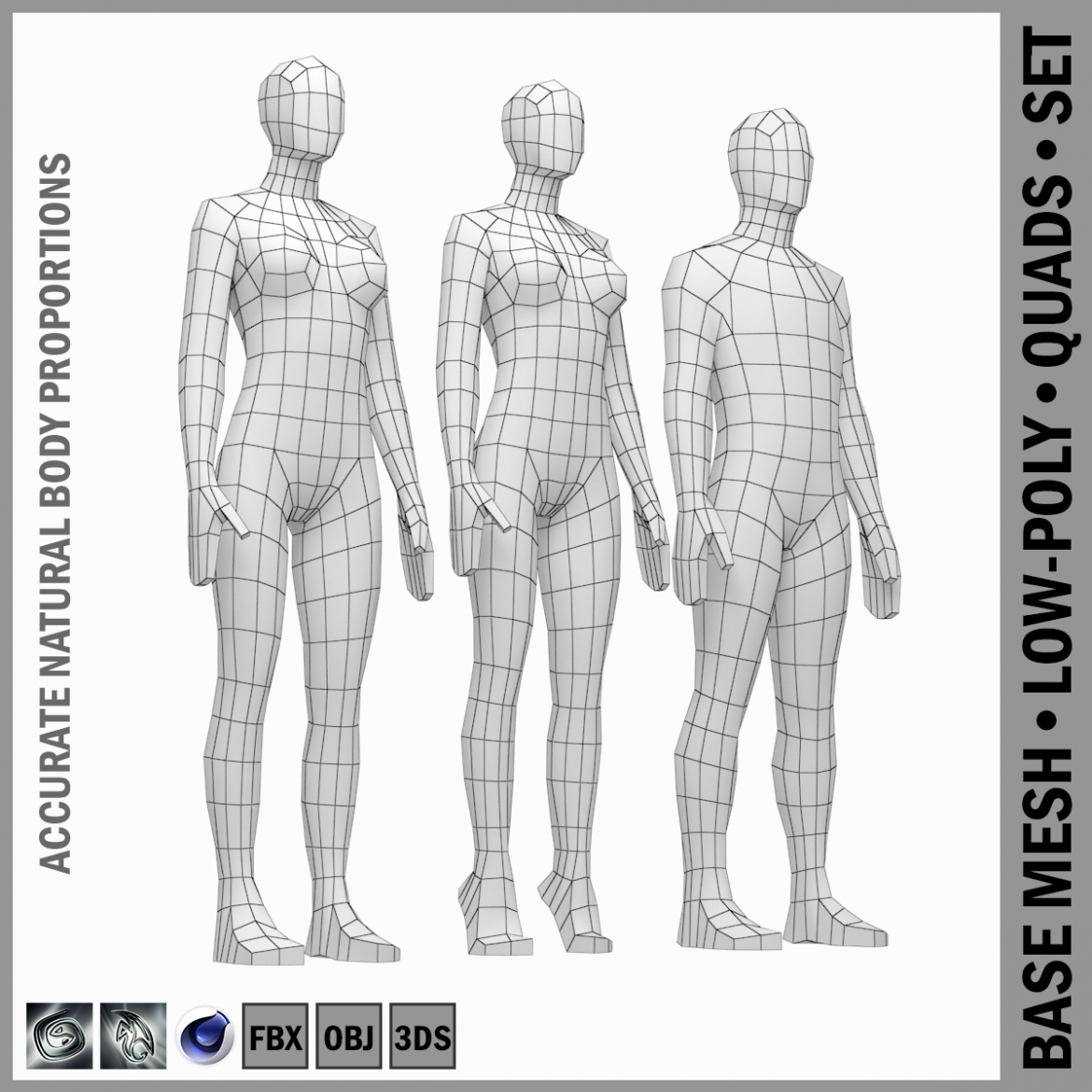 male and female low poly base mesh in rest pose 3d model 3ds max fbx c4d ma mb obj 301230