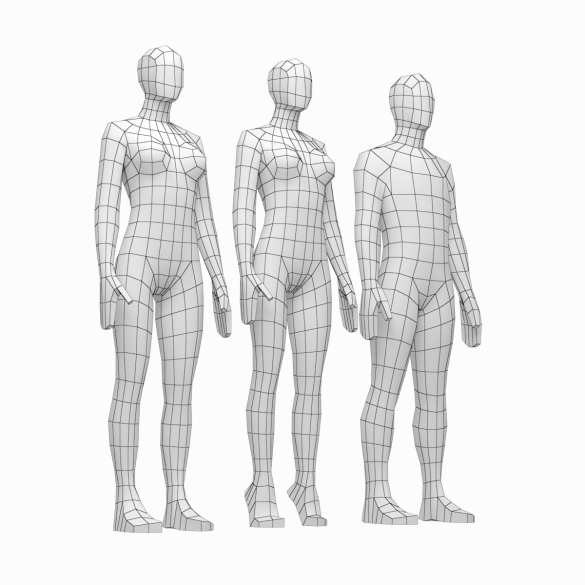 male and female low poly base mesh in rest pose 3d model 3ds max fbx c4d ma mb obj 301231
