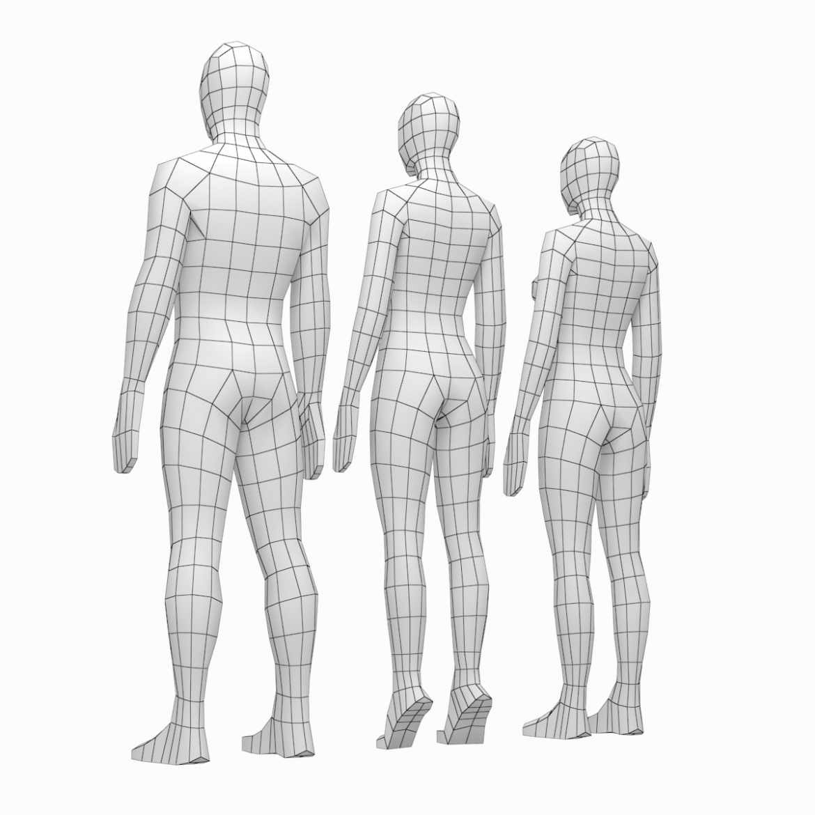 male and female low poly base mesh in rest pose 3d model 3ds max fbx c4d ma mb obj 301232