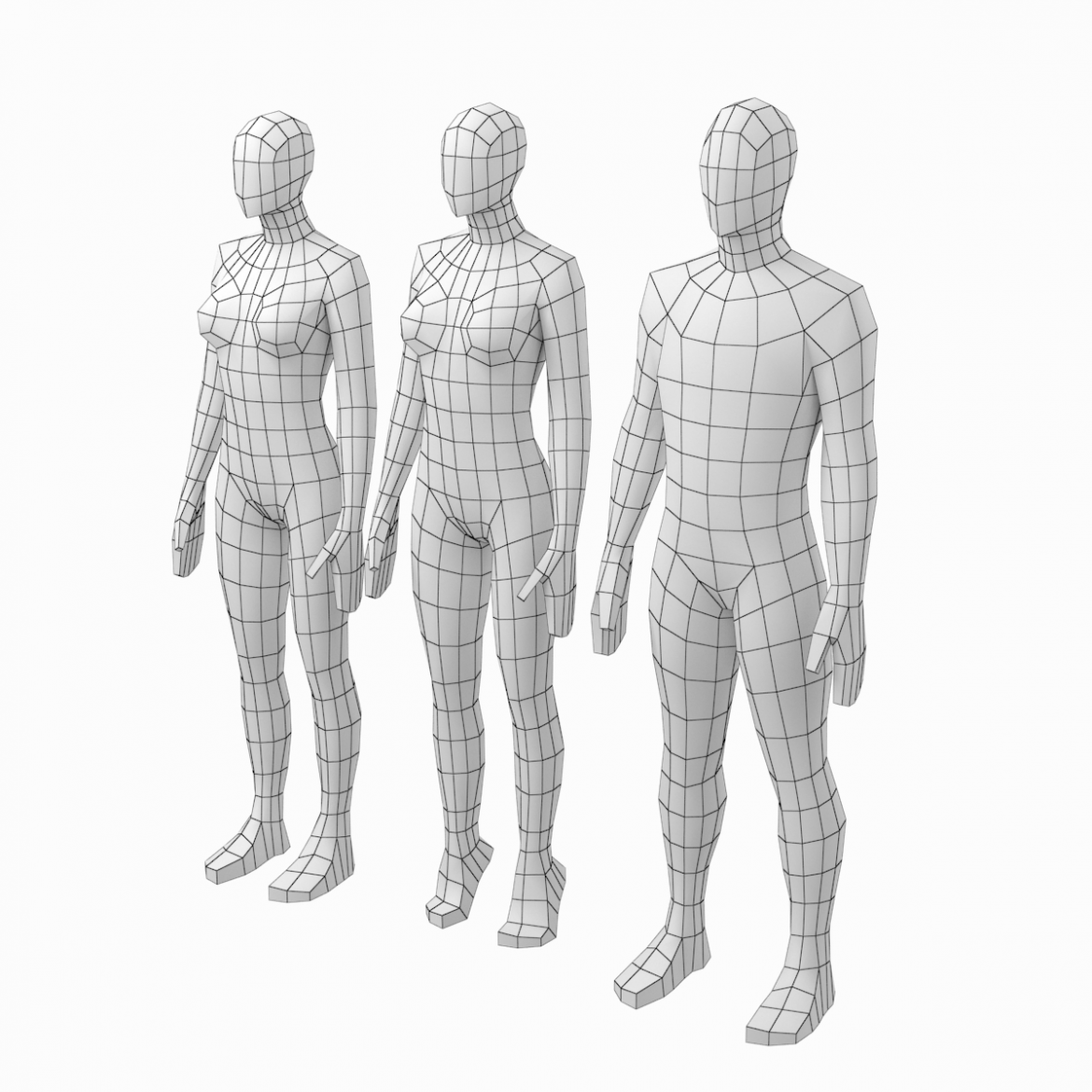 male and female low poly base mesh in rest pose 3d model 3ds max fbx c4d ma mb obj 301233
