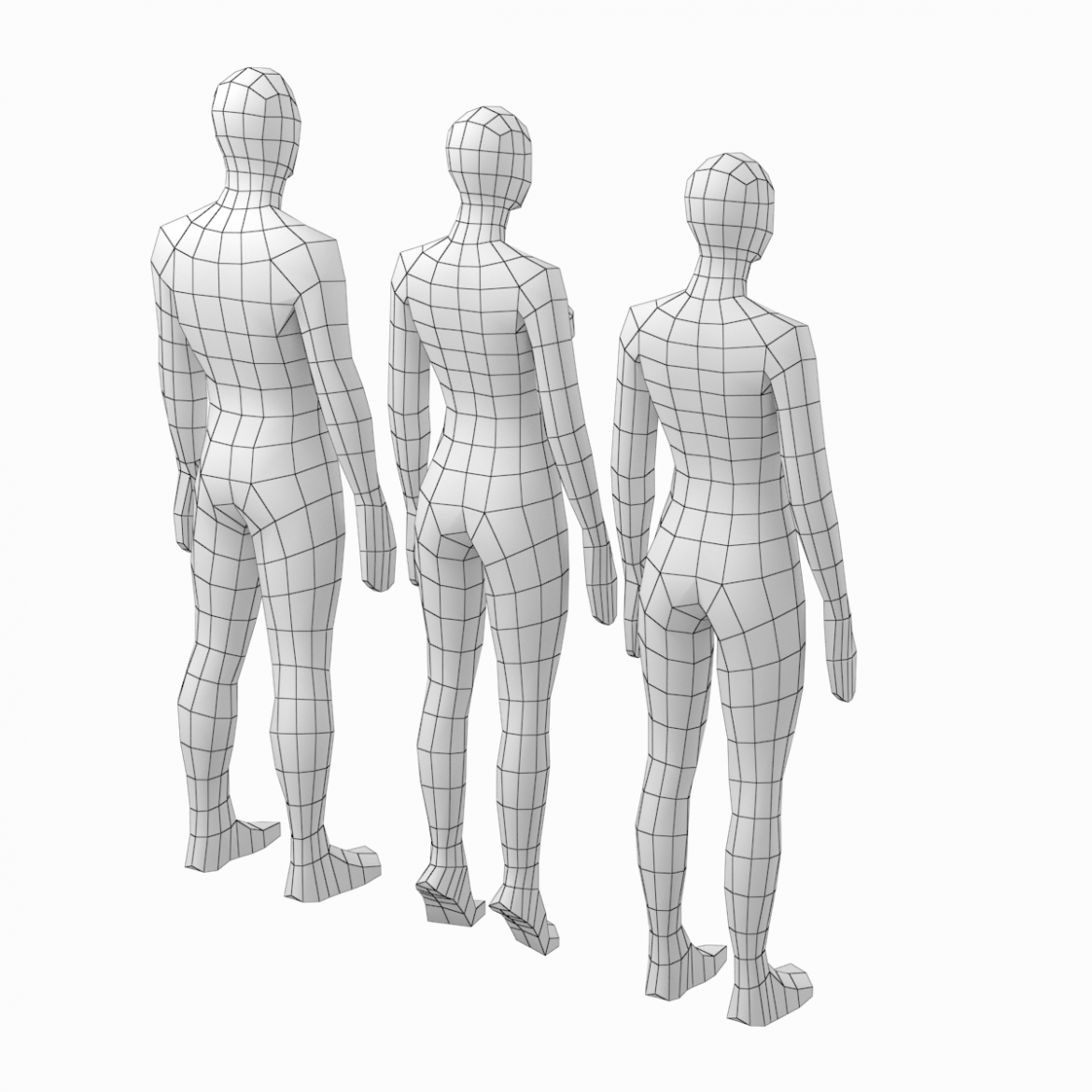 male and female low poly base mesh in rest pose 3d model 3ds max fbx c4d ma mb obj 301234