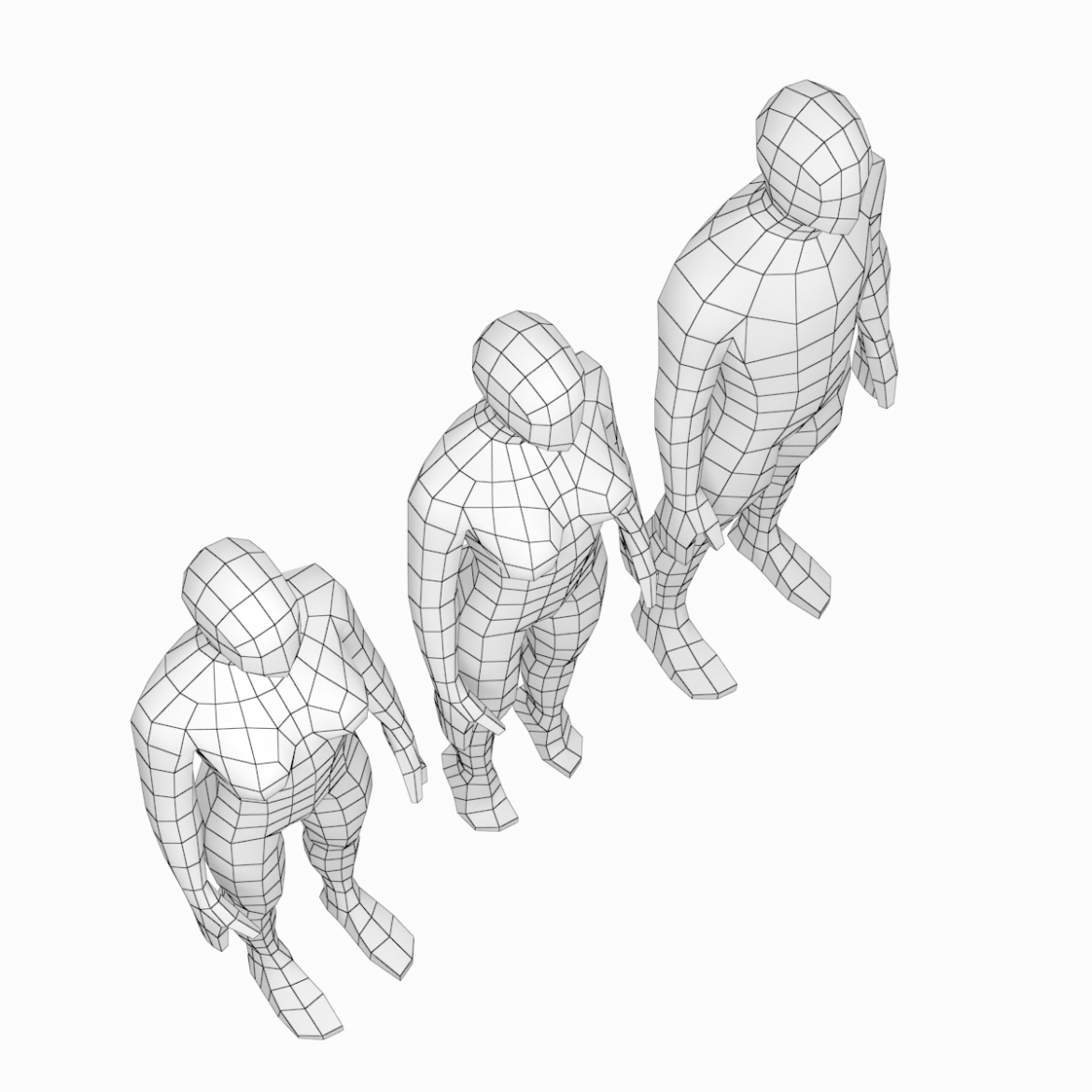 male and female low poly base mesh in rest pose 3d model 3ds max fbx c4d ma mb obj 301235