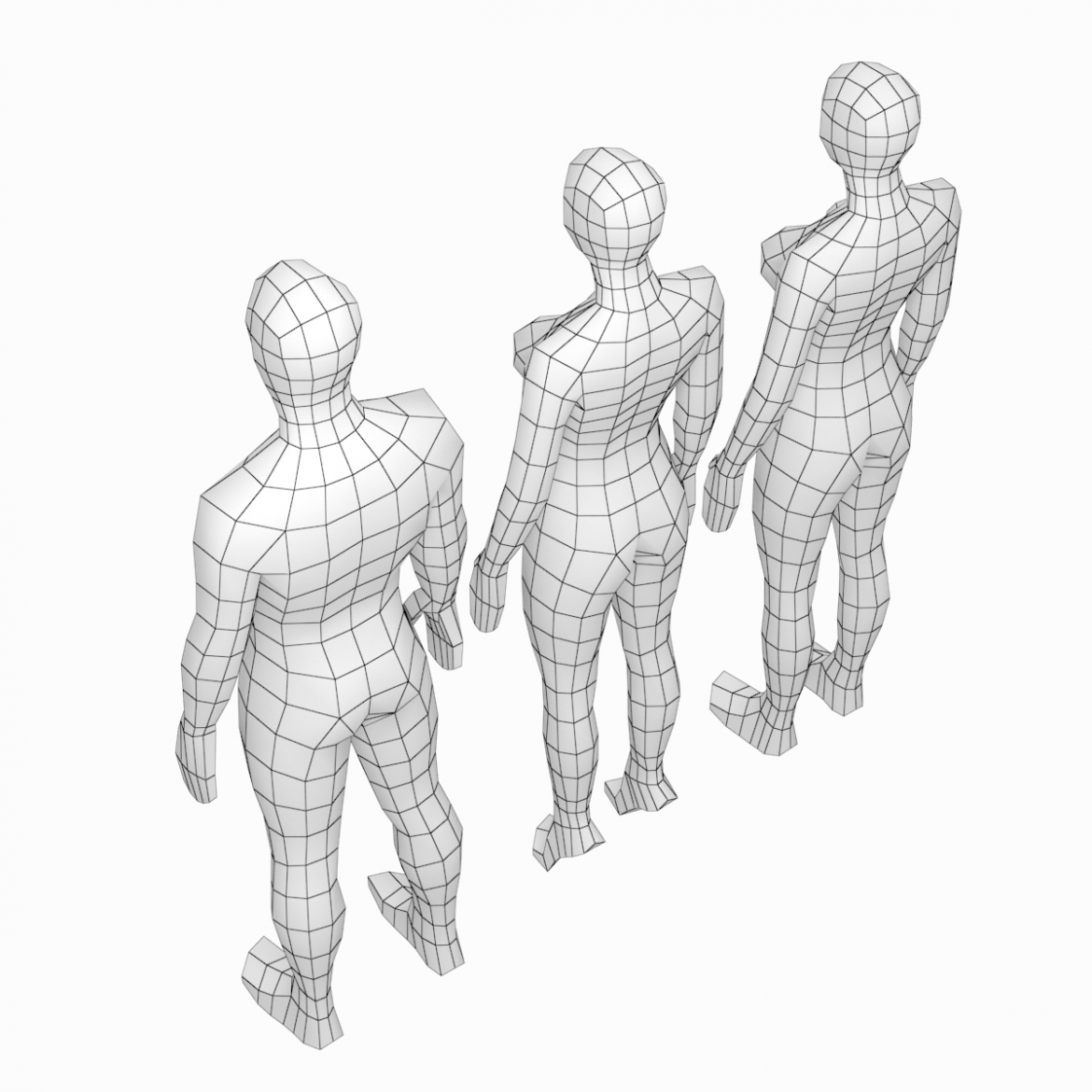 male and female low poly base mesh in rest pose 3d model 3ds max fbx c4d ma mb obj 301237