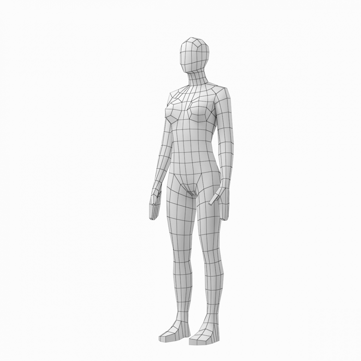 male and female low poly base mesh in rest pose 3d model 3ds max fbx c4d ma mb obj 301239