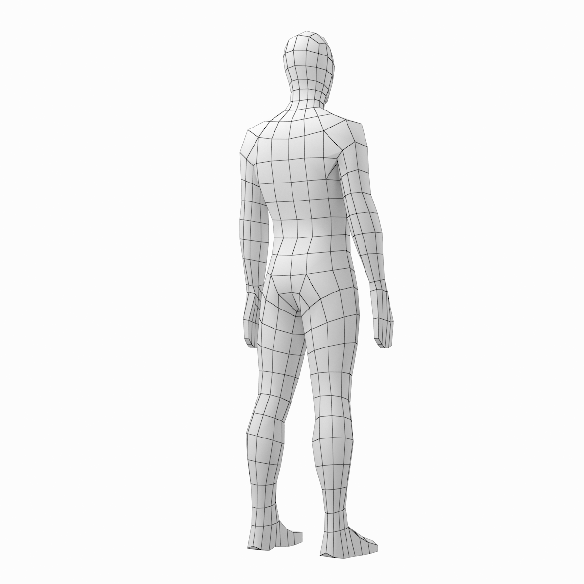 Male and Female Low Poly Base Mesh in Rest Pose