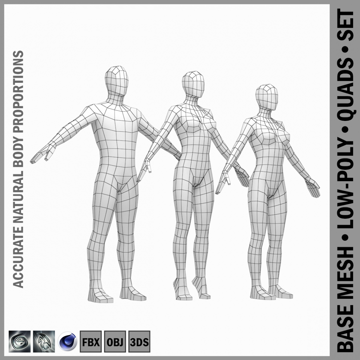 male and female low poly base mesh in a-pose 3d model 3ds max fbx c4d ma mb obj 301258