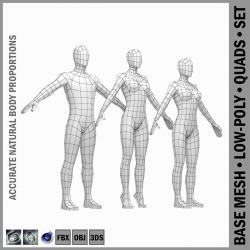 isas- ja naissoost madal polü-baasvõrk a-pose 3d mudel 3ds max fbx c4d ma mb obj 301258