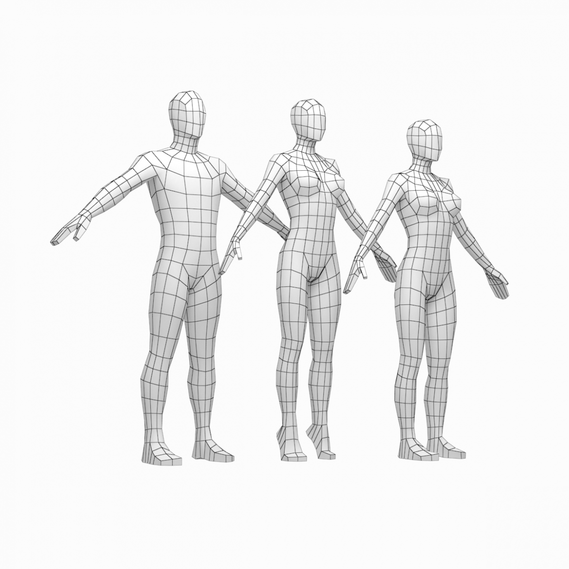 male and female low poly base mesh in a-pose 3d model 3ds max fbx c4d ma mb obj 301259