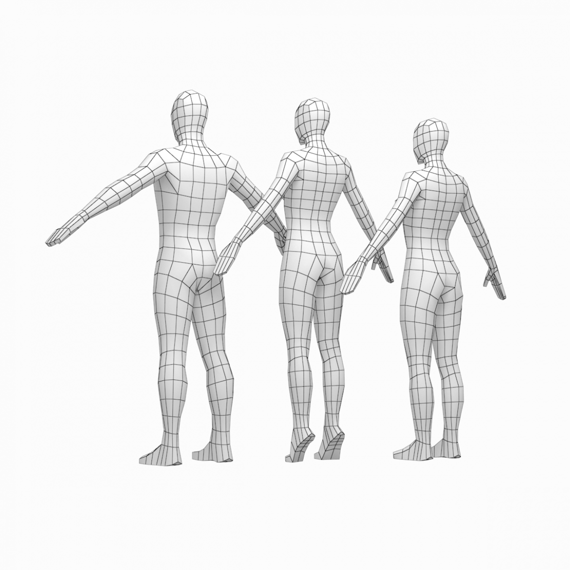 male and female low poly base mesh in a-pose 3d model 3ds max fbx c4d ma mb obj 301260