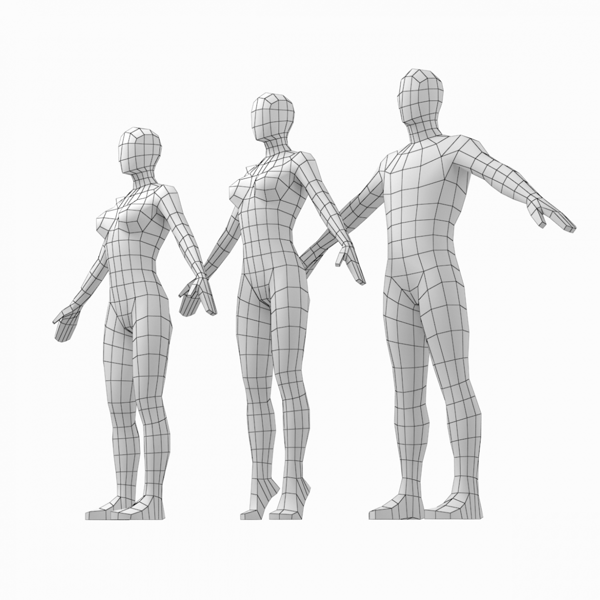 male and female low poly base mesh in a-pose 3d model 3ds max fbx c4d ma mb obj 301261