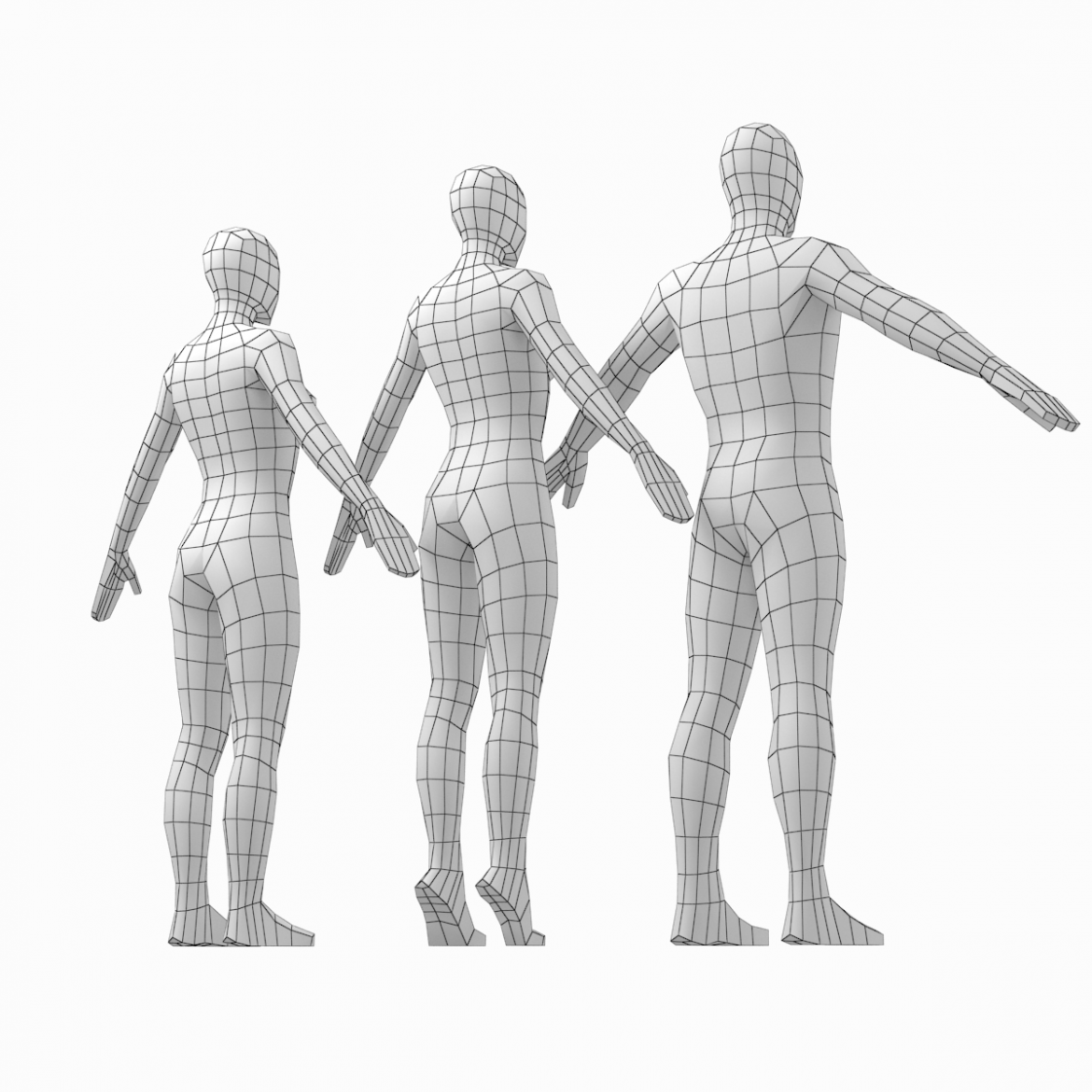 male and female low poly base mesh in a-pose 3d model 3ds max fbx c4d ma mb obj 301262